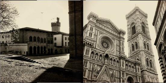 Bangunan kuno di Italia oleh Joshua Brown mengunakan warna monokrom dan sedikit warna coklat / sepia untuk memberikan kesan tua.
