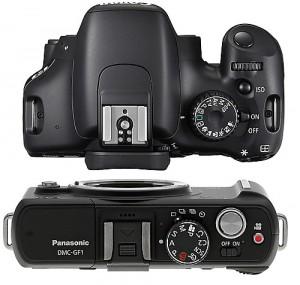 Panasonic GF1, kamera m43 terlihat jauh lebih ramping dibandingkan dengan kamera DSLR pemula Canon