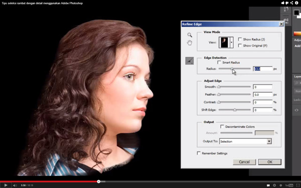 Belajar seleksi rambut dengan Photoshop
