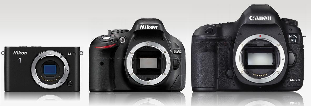 Nikon J3 (paling kiri) dibandingkan dengan kamera DSLR bersensor APS-C dan full frame (paling kanan)