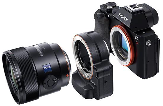 Sony A7R dengan adapter untuk lensa sony Alpha