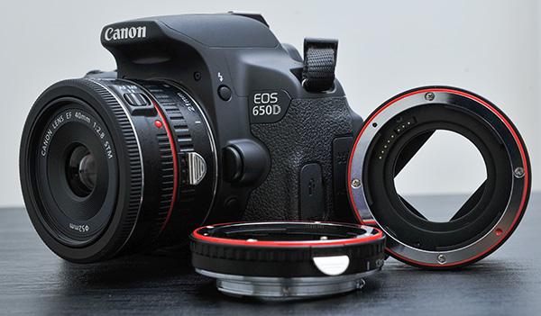 Tiga extension tube TTL+Autofocus untuk kamera DSLR Canon