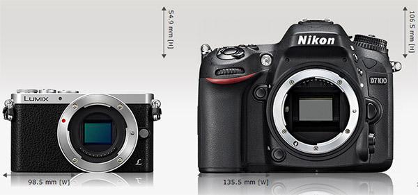 GM1 dibandingkan kamera DSLR tingkat menengah Nikon D7100