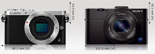 GM1 dibandingkan dengan kamera compact Sony RX100 yang bersensor 1 inci.