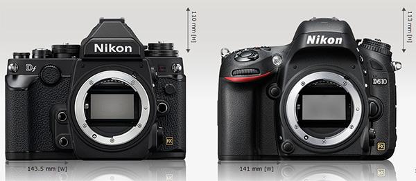 Nikon Df (kiri), Nikon D610 kanan