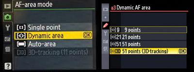 AF Area mode Nikon biasanya terletak di dalam menu>custom menu>autofocus