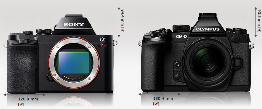 Kiri: Sony A7R fisiknya sedikit lebih kecil dari Olympus, tapi di dalamnya sensor gambarnya lebih besar 2X lipat