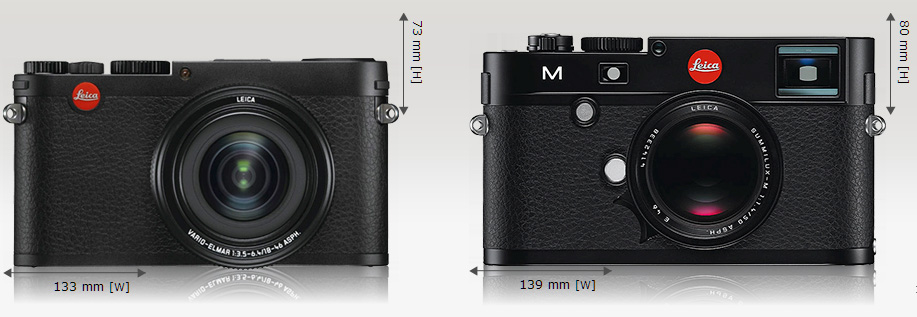 Perbandingan ukuran Leica X vario (kiri) dan Leica M (kanan)