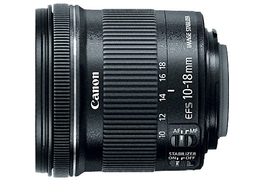 Canon EF-S 10-18mm f/4.5-5.6 IS STM Lensa lebar terjangkau dan ringkas. 240 gram, 7.2 cm, filter 67mm
