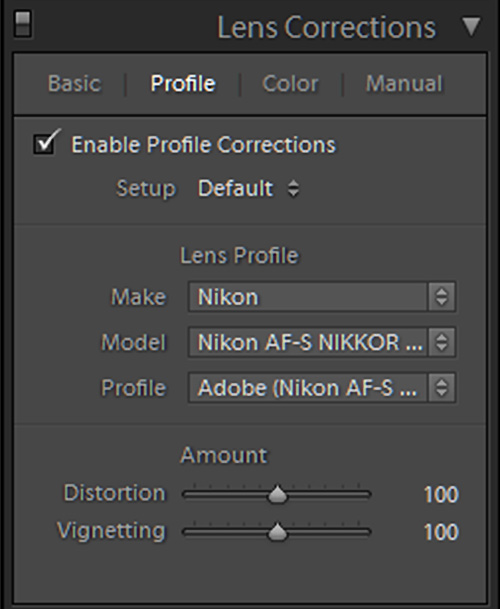 Panel lens profil di Lightroom
