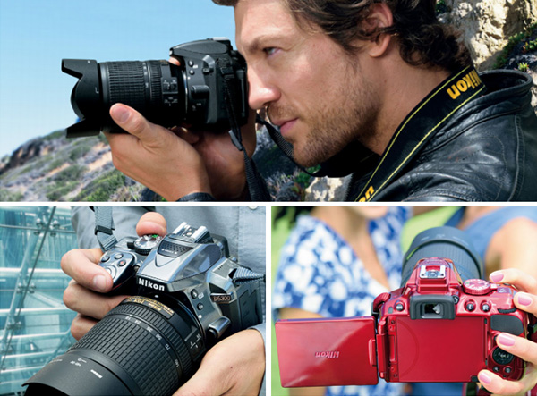 Nikon D5300 tersedia dalam beberapa warna. Terlihat dengan salah satu lensa kit Nikon 18-140mm f/3.5-5.6 VR