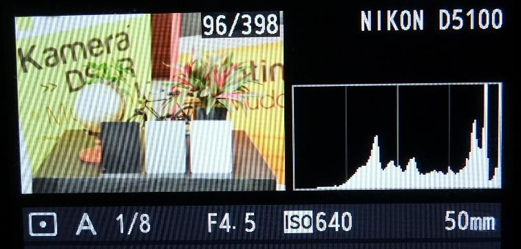 Grafik histogram lebih banyak di kanan, foto terlalu terang