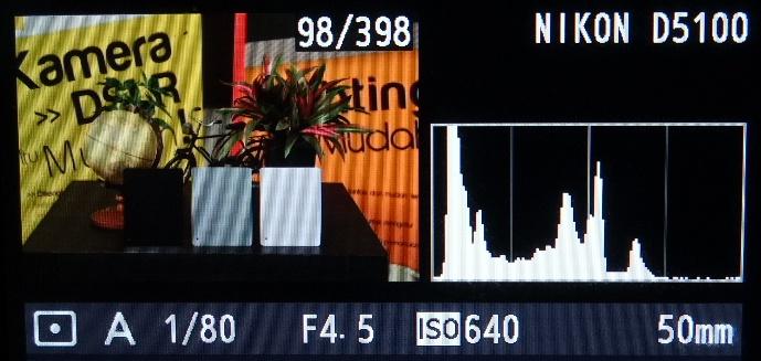 Grafik histogram lebih banyak di kiri foto, terlalu gelap
