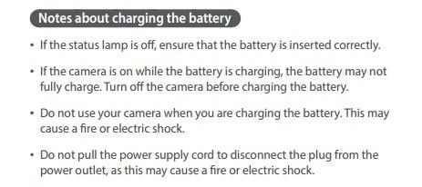 Tertulis jangan memakai kamera saat sedang saat mengisi daya
