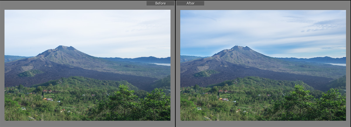 Mengunakan tool Graduated filter untuk menegaskan detail langit.