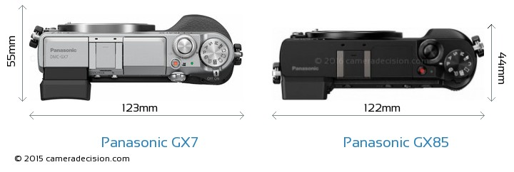 Panasonic-Lumix-DMC-GX7-vs-Panasonic-Lumix-DMC-GX85-top-view-size-comparison