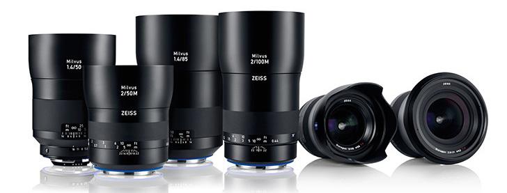 Foto keluarga Zeiss Milvus: 50mm f/2 makro, 50mm f/1.4, 35mm f/2, 85mm f/1.4, 100mm f/2 makro, 21mm f/2.8