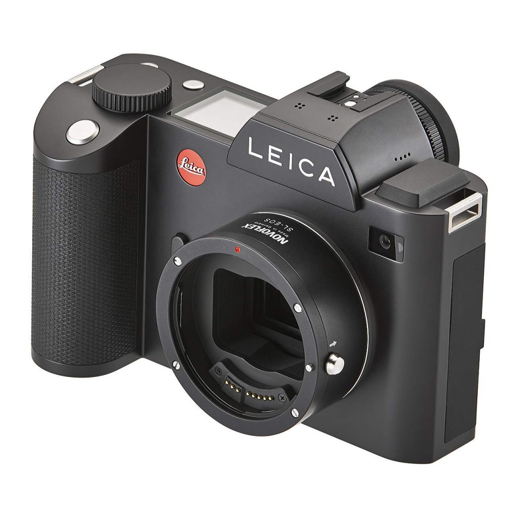 Leica SL dengan adaptor Novoflex untuk memasang lensa-lensa DSLR Canon EOS.