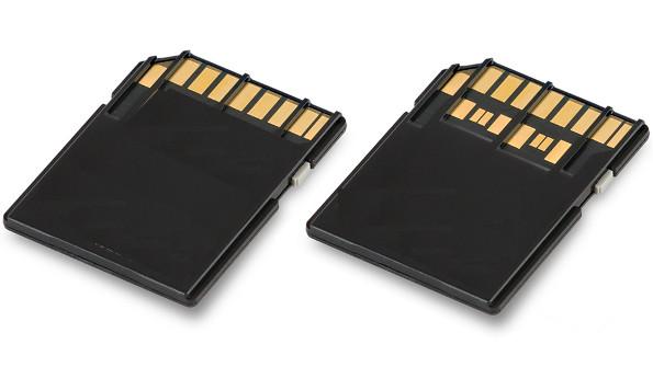 Kiri : SD biasa (UHS-I), Kanan SD card UHS-II
