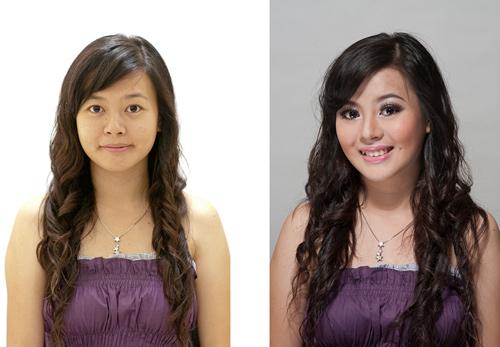 Kiri: Potret dengan cahaya alami tanpa make-up Kanan: Dengan lampu kilat, reflektor dan make-up