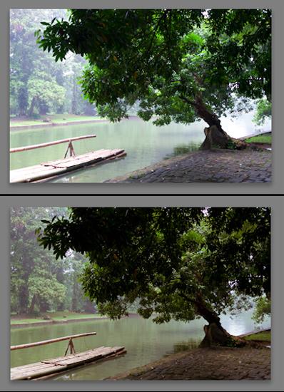 Atas: sebelum, Bawah: sesudah, dengan teknik split tone memberikan kesan suasana yang lebih damai dan tenang