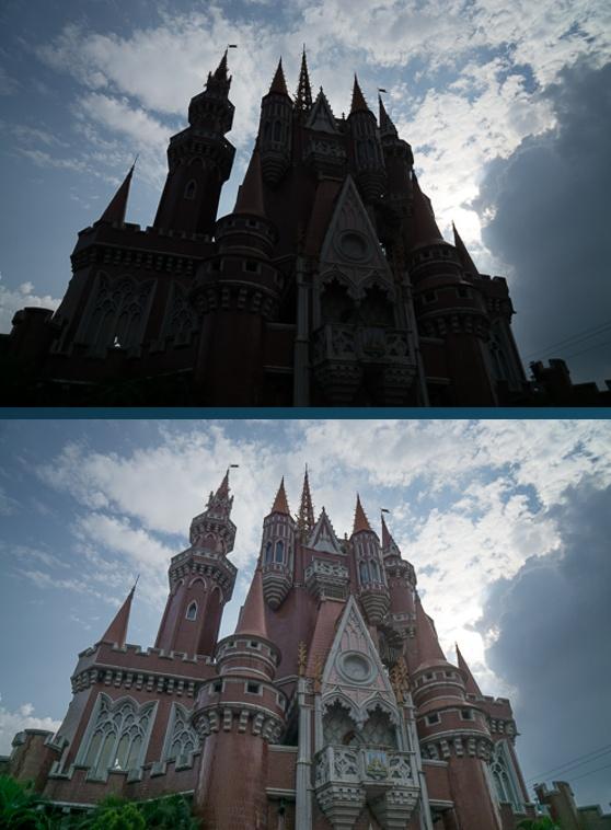 Contoh keadaan kontras tinggi (atas) dan hasil teknik mengatasi kontras tinggi (bawah)