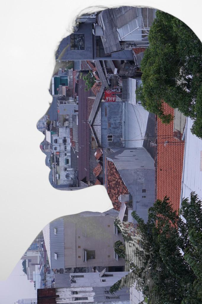 Multiple Exposure App : Menggabungkan gambar siluet wajah dengan pemandangan kota
