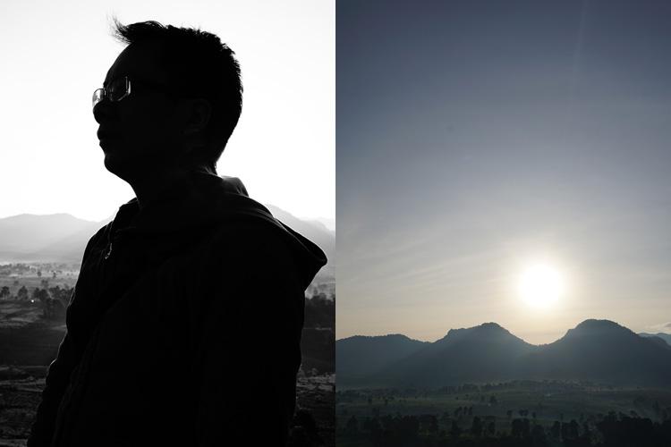 Proses pembuatan foto multiple exposure yaitu 1. Foto siluet, 2. foto pemandangan/tekstur/langit