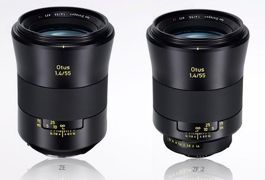 Zeiss Otus 55mm f/1.4. Yang kiri untuk kamera DSLR Canon, yang kanan untuk kamera DSLR Nikon