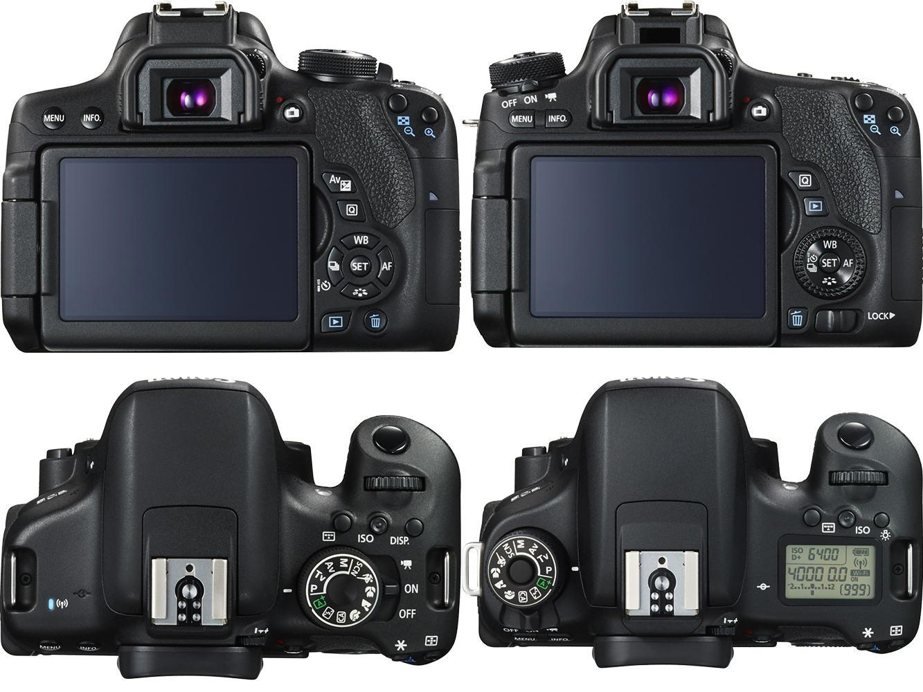 Perbedaan Canon 750D dan 760D jelas terlihat di bagian belakang dan bagian atas kamera.