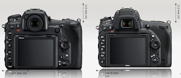 Perbedaan utama di bagian belakang kamera adalah D500 memiliki joystick dan tombol khusus AF-ON