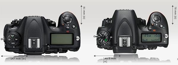 Di bagian atas, terlihat layar LCD D500 lebih besar, dan tata letak tombolnya agak berbeda. Tombol ISO di D500 terletak di dekat tombol shutter.
