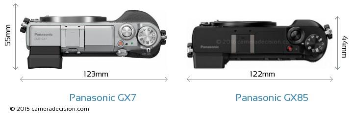 Panasonic-Lumix-DMC-GX7-vs-Panasonic-Lumix-DMC-GX85-top-view-size-comparison
