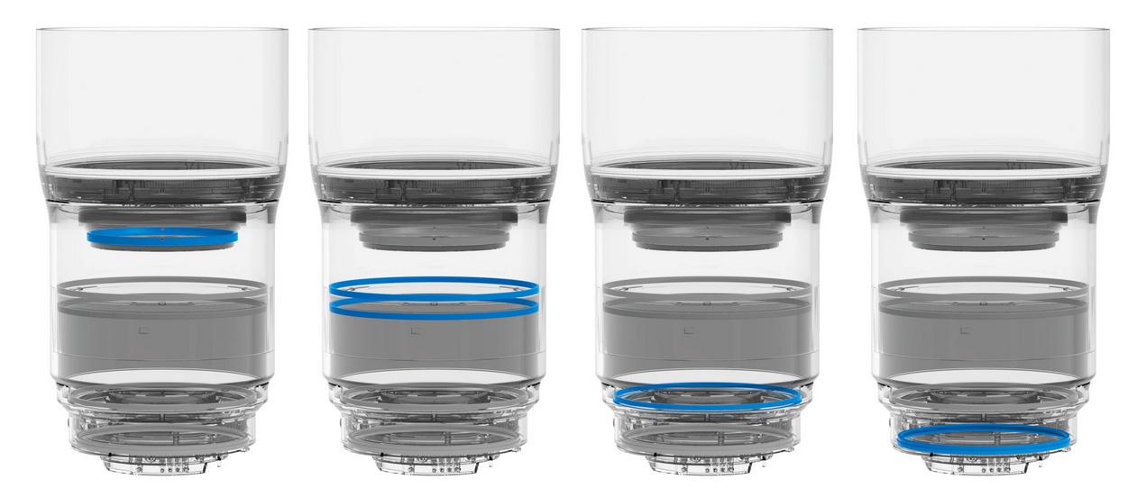 Posisi seal lensa Milvus yang mencegah debu dan air masuk ke dalam lensa.