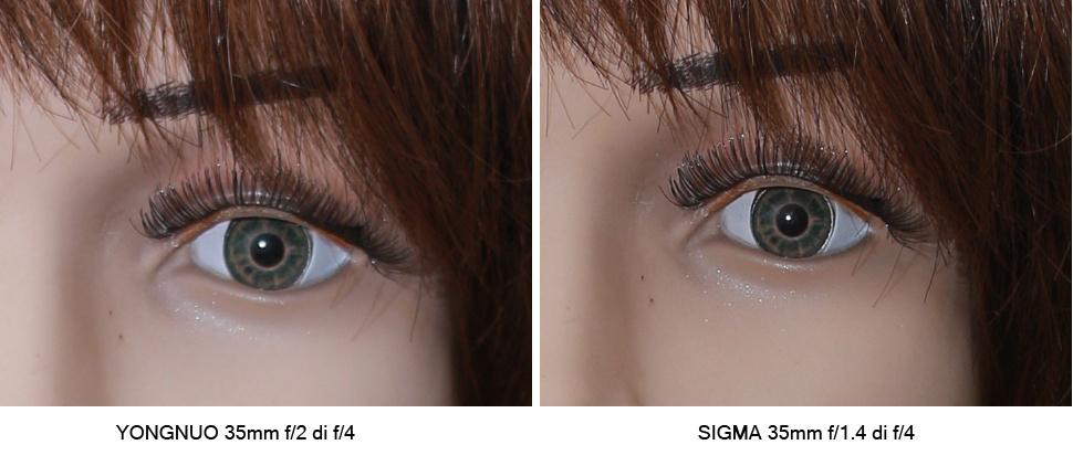 Sebagai bonus untuk anda, saya lakukan komparasi sesama lensa fix 35mm. Foto di crop di bagian mata untuk dibandingkan perbedaan ketajaman dan warnanya.
